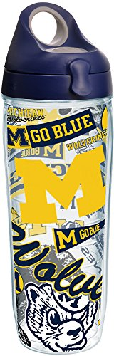 Tervis 1256308 NCAA Michigan Wolverines All Over Water Bottle with Lid, 24 oz, Clear