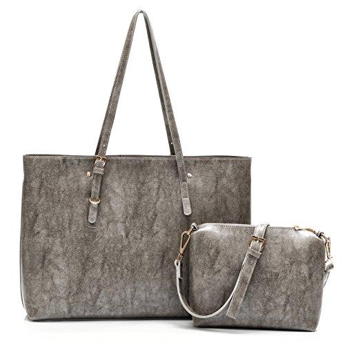 Ali Victory Large Satchel Shoulder Bag for Women Crossbody Handbag (Grey - Set) by Ali Victory