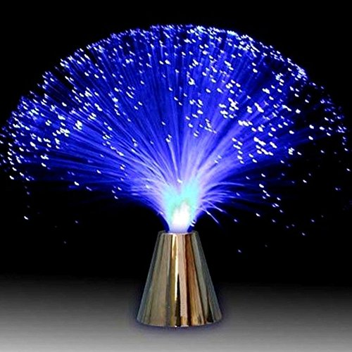 LED Fiber Optic Light, Silver-plated Base with Colorful Luminous Color-Changing Light, Battery Powered Night Lamp for Bedroom Table Decorations(1 PC,Multicolor)