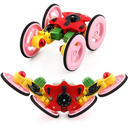 Bekia 2 4G Mini 360 Spinning Stunt Car And Flips With Color Flash Remote Control Truck  Red