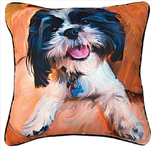Manual Shih Tzu Baby Paws and Whiskers Decorative Square Pillow, 18-Inch