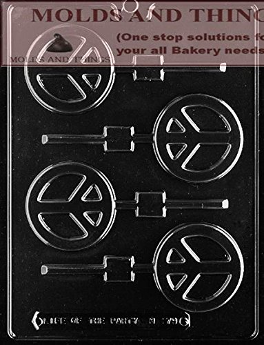 PEACE SIGN lolly chocolate candy mold with Copywrited molding Instructions ()