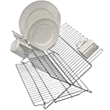 Better Houseware 3489.5 Folding Dish Rack, Metallic Silver