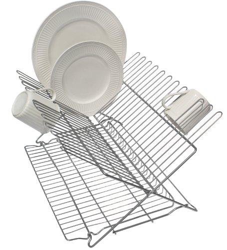 Better Houseware 3489.5 Folding Dish Rack, Metallic Silver