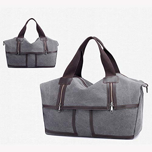Capacità Viaggio blue Bag Tote Donna Grande In Zipper Canvas A Ynnb Notte Tela Gray Da Borsa Tracolla Weekend xZaRntw