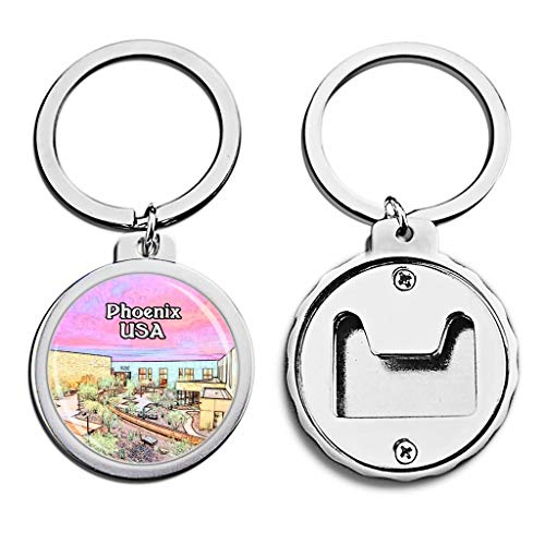 State Musical Keychain - USA United States Bottle Opener Keychain Musical Instrument Museum Phoenix America Mini Bottle Cap Opener Keychain Creative Crayon Drawing Crystal Key Chain Travel Souvenirs Metal