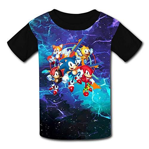 Price comparison product image Black Raglan T-Shirts,  Son-ic - Man-ia Short Sleeve Sports Sweat Tee for Teen Kids Boys Girls