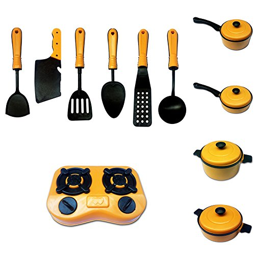 HsgbvictS Pretend Play 11Pcs/Set Children Kids Kitchen Cookware Cooking Pretend Role Play Toy Gift Non-Toxic, Cooking Toy, Cookware Kitchen Toy, Educational Toy - Yellow