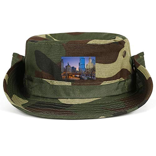 COOLER Chicago Cityscape with Rivers Bridge Wide Brim Boonie Hat Safari Hat and Fishing Hat Sun Hats for Men/Women (Best River Boat Cruise In Chicago)