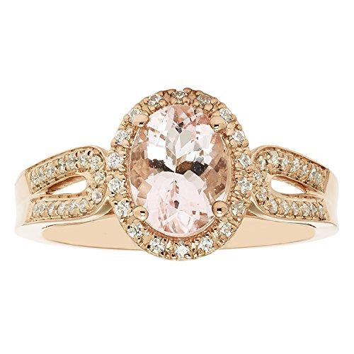 14K Rose Gold 8x6MM Oval Morganite & Diamond Halo Fashion...