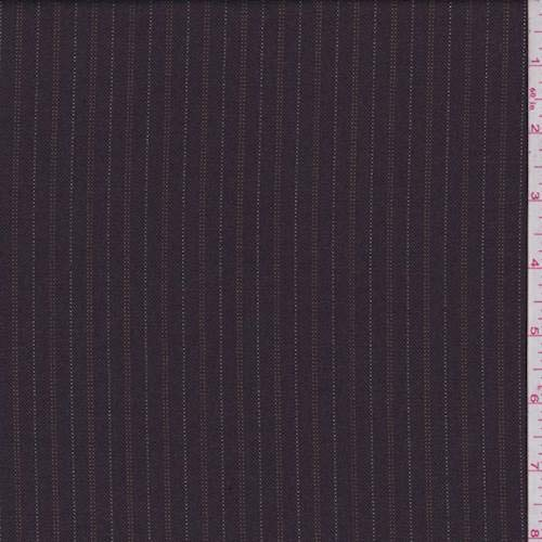 Plum Brown Pinstripe Wool Blend Suiting, Fabric by The Yard - Wool Blend Suiting