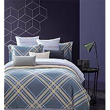 Lux Home Premium 100% Long Staple Egyptian Cotton Queen Size 3 Piece Duvet Cover Set - Elegant Fine Prints - Super Soft Ultra Smooth Bedding Set (Square Royal)