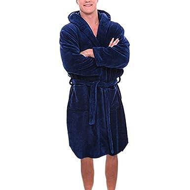 807dd57edd ShaDiao Herren Bademantel Weicher Herrenbademantel Morgenmantel mit Kapuze  Saunamantel mit Gürtel und Tasche Unisex Herren Damen