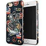 Glitbit Peace Sign Hippie Embroidered 70s 80s 90s Hipster Pride Tie Dye Stop War Thin Design Durable Hard Shell Plastic Protective Case For Apple iPhone 7 iPhone 8