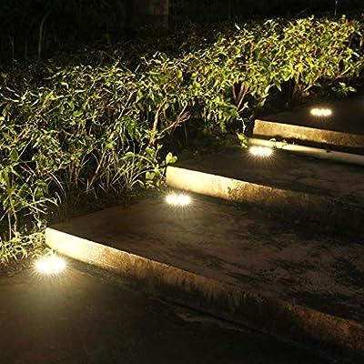 ADKINC Luces solares de Suelo para jardín, Luces solares de jardín LED de 5 Luces empotradas para Exteriores Iluminación de Paisaje Cambio de Color, de anochecer a Amanecer (Navidad): Amazon.es: Hogar