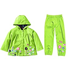 MingAo Girls Clothes Set Flower Waterproof Outdoors Raincoat with Pants 1-5 Year