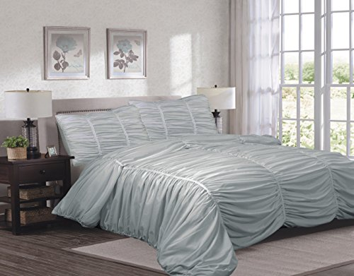 (Sweet Home Collection 3 Piece Isabella Comforter Reversible Ruched/Chevron Print Comforter, King, Gray)