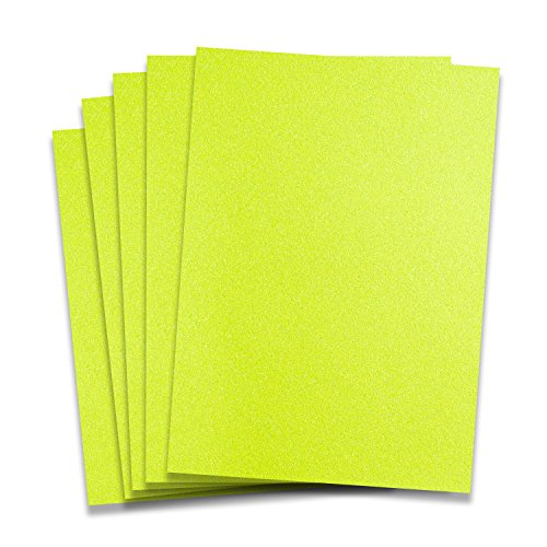 (Rozzy Crafts Neon Yellow Glitter Heat Transfer Vinyl HTV - 5 Sheets Each 10 in x 12 in HTV for Cricut and Silhouette)