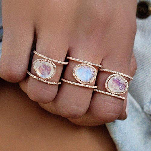 (Weishu New Irregular Natural Moonstone Ring Plated in 14k Rose Gold Yellow Gold White Gold Micro-Inset Finger Ring (US Code 6))