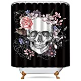 Black White Pink Shower Curtain Riyidecor Flowers Sugar Skull Shower Curtain 72x78 Inch Free Metal Hooks 12-Pack Skeletons All Saints Day Halloween Pink Rose Black and White Image Decor Fabric Set