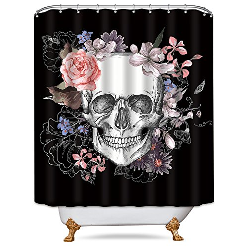 Riyidecor Flowers Sugar Skull Shower Curtain 72x78 Inch Free Metal Hooks 12-Pack Skeletons All Saints Day Halloween Pink Rose Black and White Image Decor Fabric Set