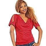 MOMEPE Yiyilai Women Cowl Neck Hollow Short Sleeve T Shirt Tunic Tee Top Red L