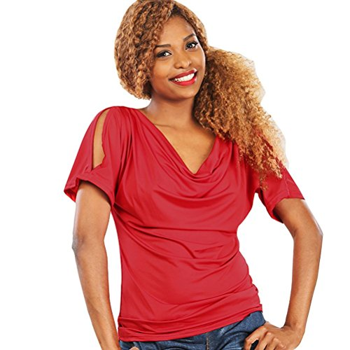 MOMEPE Yiyilai Women Cowl Neck Hollow Short Sleeve T Shirt Tunic Tee Top Red L by MOMEPE