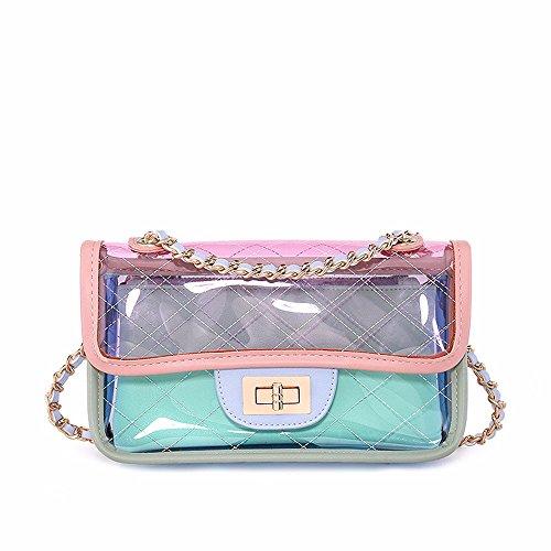 2018 nuevo verano mini bolso de la jalea, solo hombro skew Chain Bag,Blanco Rosa