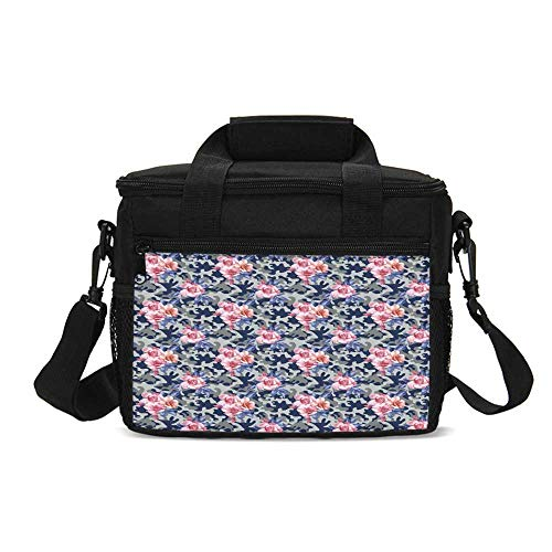Camo Durable Lunch Bag,Victorian Theme Pink Retro Design Roses Urban Fashion Nature Feminine for Picnic Travel,9.4