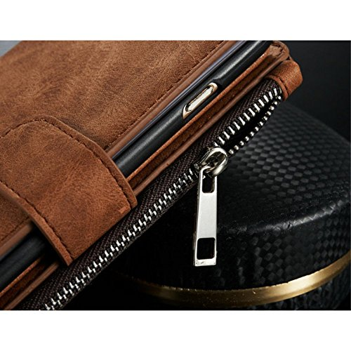 Apple iPhone 6Plus/6S Plus Étui Housse Portefeuille Porte-Monnaie Marron decui Marron Étui de protection en cuir PU