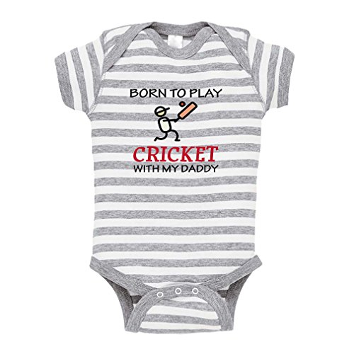 Cute Rascals Born to Play Cricket with My Daddy Baby Combed Ring-Spun Cotton Stripe Fine Bodysuit One Piece - White Gray, 12 Months - Stripe Cricket