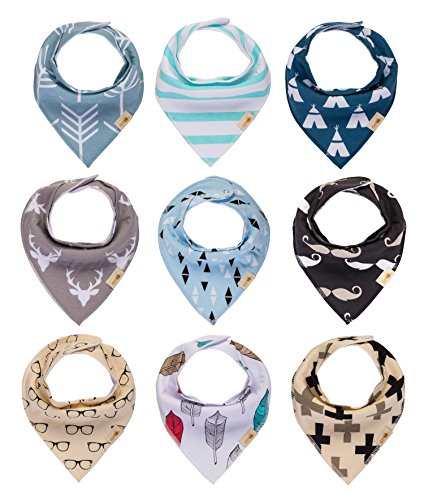 Baby bandana bibs, 9-Pack Drool Bibs for Boys and Girls, unisex, Little Guy Baby Shower set, 100% Organic Cotton, Soft and Absorbent, Stylish and Un…