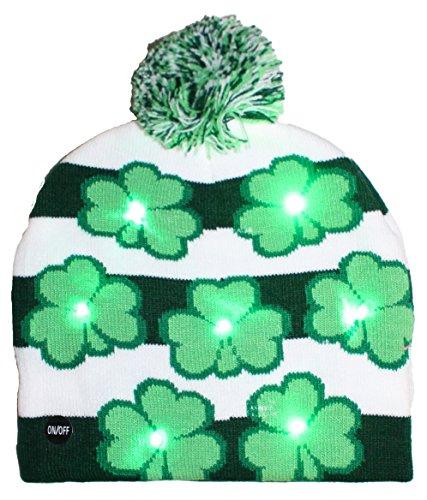 Day Womens Cap (ST. Patricks Day Irish Light Up Beanie Skull Cap With Shamrocks)
