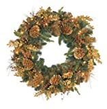 Bethlehem Lighting GKI Radiant Gold 30-Inch Christmas Wreath with 50 Clear Mini Lights