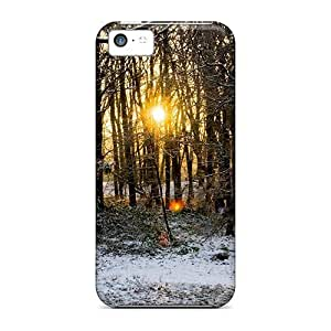 Diy iphone 5 5s case 5c Scratch-proof Protection Case Cover For Iphone/ Hot Sun Through The Trees In Winter Phone Case