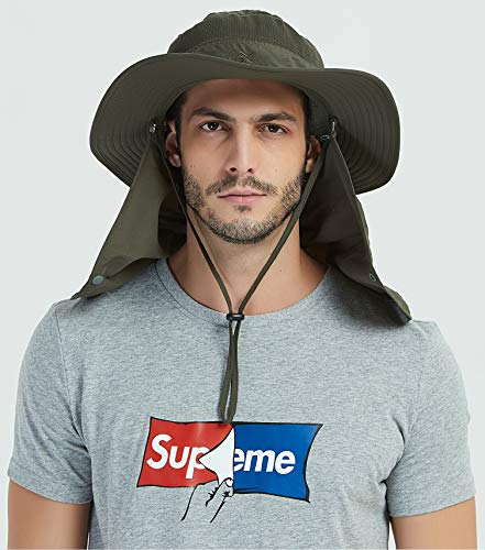 21fa1586 Amazon.com : DDYOUTDOOR Vvip 07-281 Fashion Summer Outdoor Sun Protection  Fishing Cap Neck Face Flap Hat Wide Brim (Army Green) : Sports & Outdoors