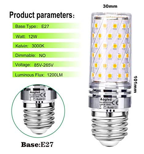 E27 Led Bulb Lamp 12W Aogled,Equivalent to 100W Halogen lamp,Warm White 3000K,1200LM Corn Bulb,Edison Screw Candelabra,Not Dimmable,No Flickering AC85-265V,Pack of 4