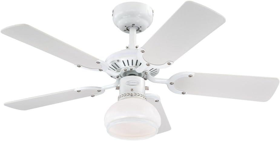 Westinghouse Lighting Princess Radiance II Ventilador de Techo, Acabado en Blanco con aspas Reversibles en Blanco/Haya