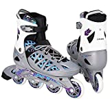 Dongchuan Men/Women Inline Skates Adjustable ABEC-7 Bearing Smoothly& Fastly Speed Trainning Rollerblades (silver, US 4-7)