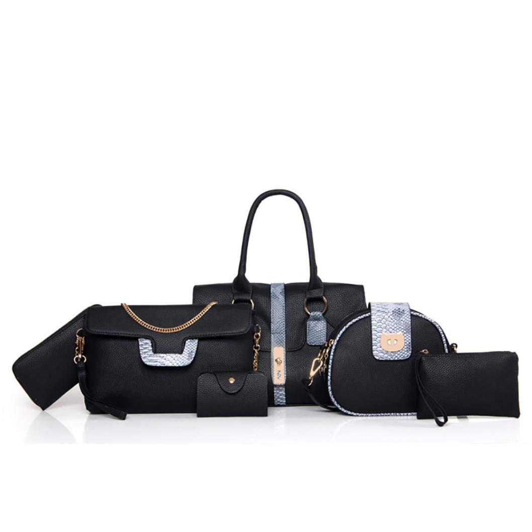 Yezijin Pack of 6 Bags Women Multi-Purpose Purse Leather Leatherette Shoulder Handbag (Black)