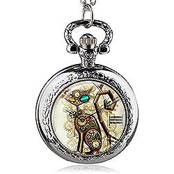 HWCOO Relojes De Bolsillo Reloj de bolsillo de cuarzo de gato mecánico medio Vintage Reloj de mesa de mesa de estudiante (Color : 2)