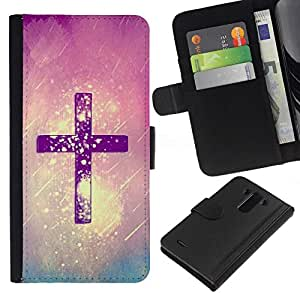 All Phone Most Case / Oferta Especial Cáscara Funda de cuero Monedero Cubierta de proteccion Caso / Wallet Case for LG G3 // God Purple Rain Religious Christian