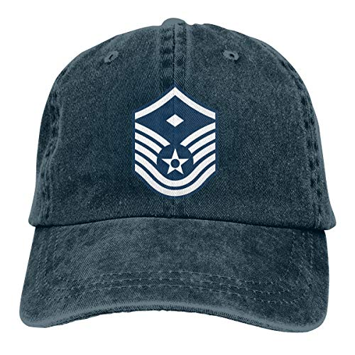 Air Force Master Sergeant 1st SGT Diamond Rank Vintage Adjustable Denim Hat Baseball Caps for Man and Woman