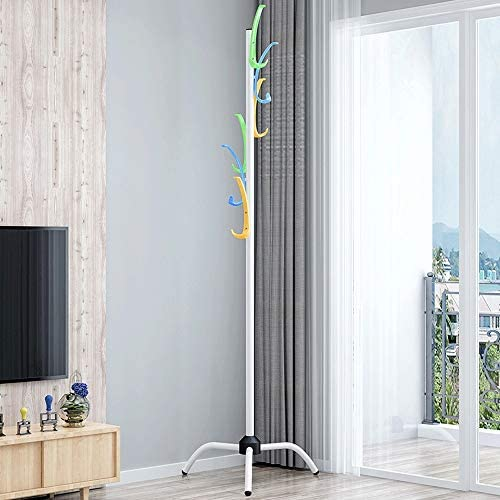 玄関収納 耐久性のある創造的なコートラックハットスタンド無料立ちディスプレイホールツリー金属帽子ハンガー衣服ストレージホルダー服フックとスカーフの6フック (Color : White, Size : 50×183cm)
