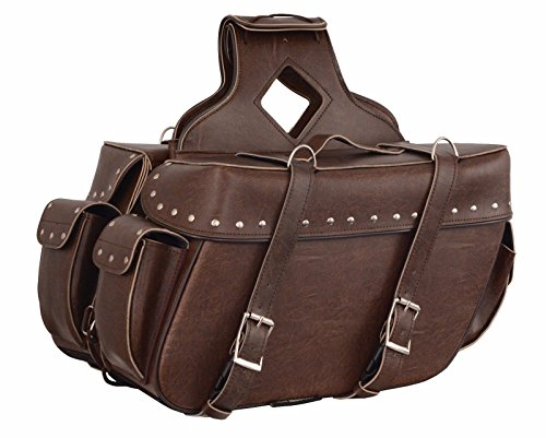 - Shaf Motorcycle Large Antique Brown Two Piece Zip-Off PVC Riveted SADDLEBAG Amazing$$