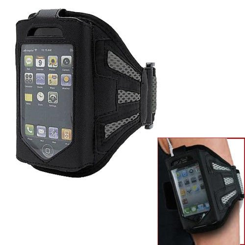 yan_Premium Black/Grey Running Sports Gym Armband Case Cover For iPhone 4 4S 4TH