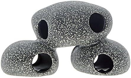 Saim Juego de 3 cuevas de cerámica para acuario con forma de camarón