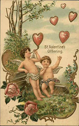 Heart Shaped Cherub - St Valentine's Offering - Two Cherubs Blowing Heart Shaped Bubbles Original Vintage Postcard