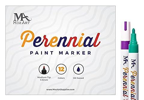 Permanent Paint Marker Set - 12 Colors - Oil-based Paint Markers - High Permanence - for Glass, Metal, Wood, Porcelain, Plastic, Pottery - Artists Marker Paint - MozArt - Navy Blue Chrome Pen