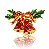 Alloy Bell Brooch Red Rhinestone Brooch Pin For